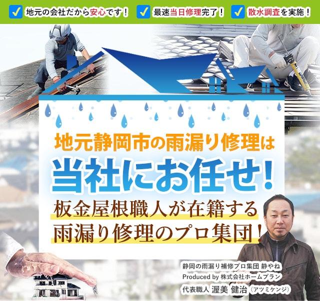地元静岡市の雨漏り修理は当社にお任せ!板金屋根職人・外壁塗装職人が在籍する雨漏り修理のプロ集団!